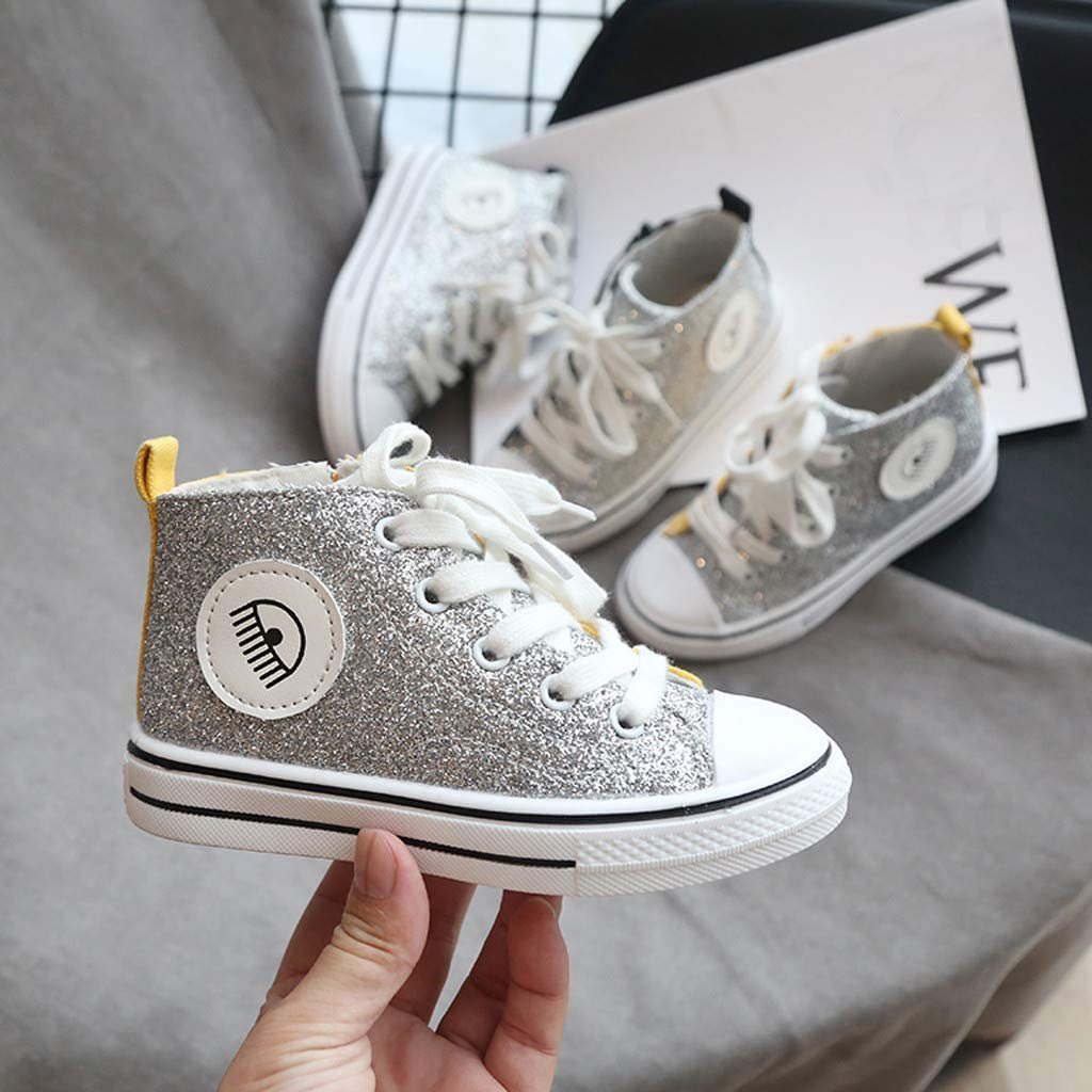 Sequin Flat Shoes Canvas Shoes Walking Shoes Toddlers Outdoor Sneakers Casual Shoes Littles Kids Fashion Bling Shoes Hi-top Trainers Boys 15 Months-7 Years Igemy Hightop Shoes Kids