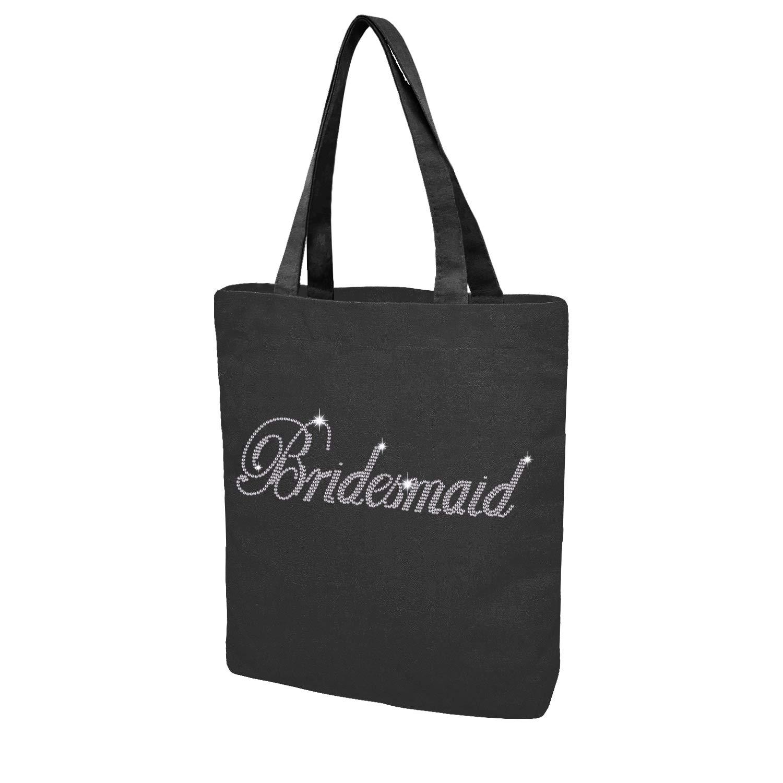 Custom Tote bag for Bride Bridesmaid Crystal Cotton Bags Rhinestone Bridal Shower Bachelorette Party Gifts (Black - Bridesmaid)