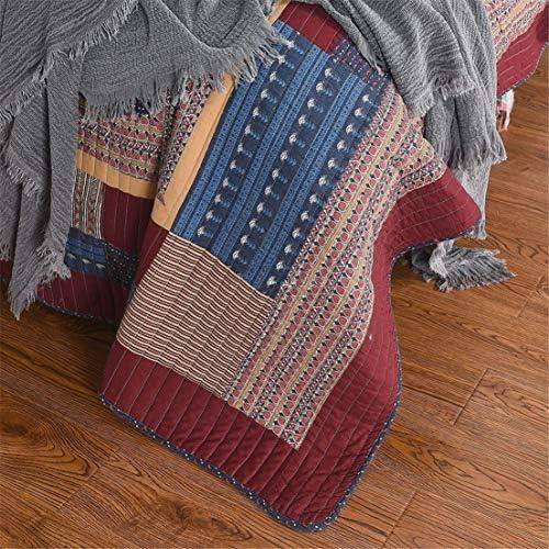 ADGAI Vintage Patchwork Couvre-lit 3Pcs Coton Matelassé Literie Chic Rouge Marron Couvre-Lit King Size Coverlet Couverture avec 2 Taie d'oreiller, 230x250cm