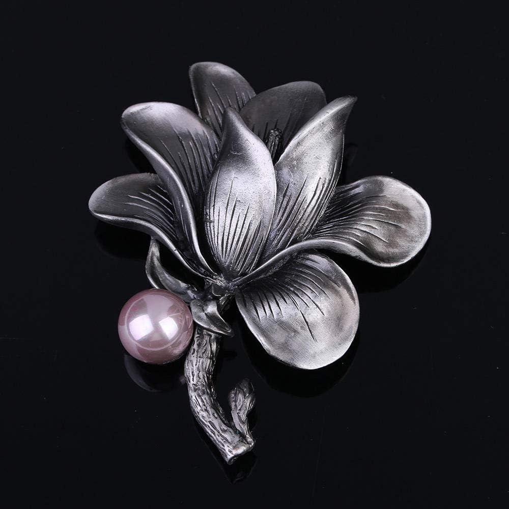 GLJIJID Broche de Moda para Mujer Precioso, Vintage Floral Perla de imitación Fiesta Camisa Collar Accesorios Broche