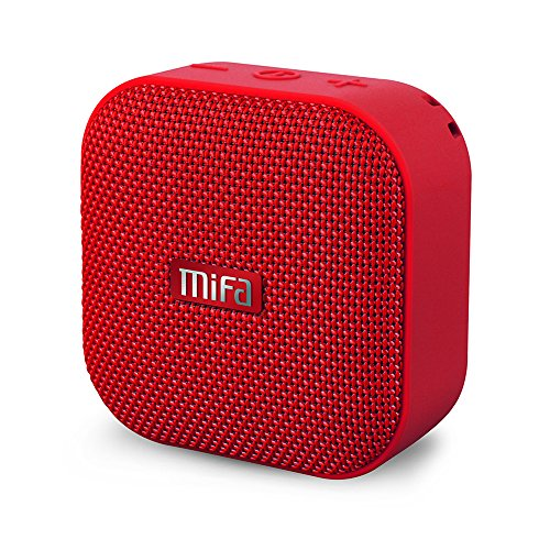(MIFA Portable Bluetooth Speaker, A1 True Wireless Stereo Speaker V4.2, IP56 Dustproof & Waterproof Fabric Design, 12-Hour Playtime, Big HD Sound & Enhanced Bass, Micro SD Card Slot, Built-in Mic, Red)