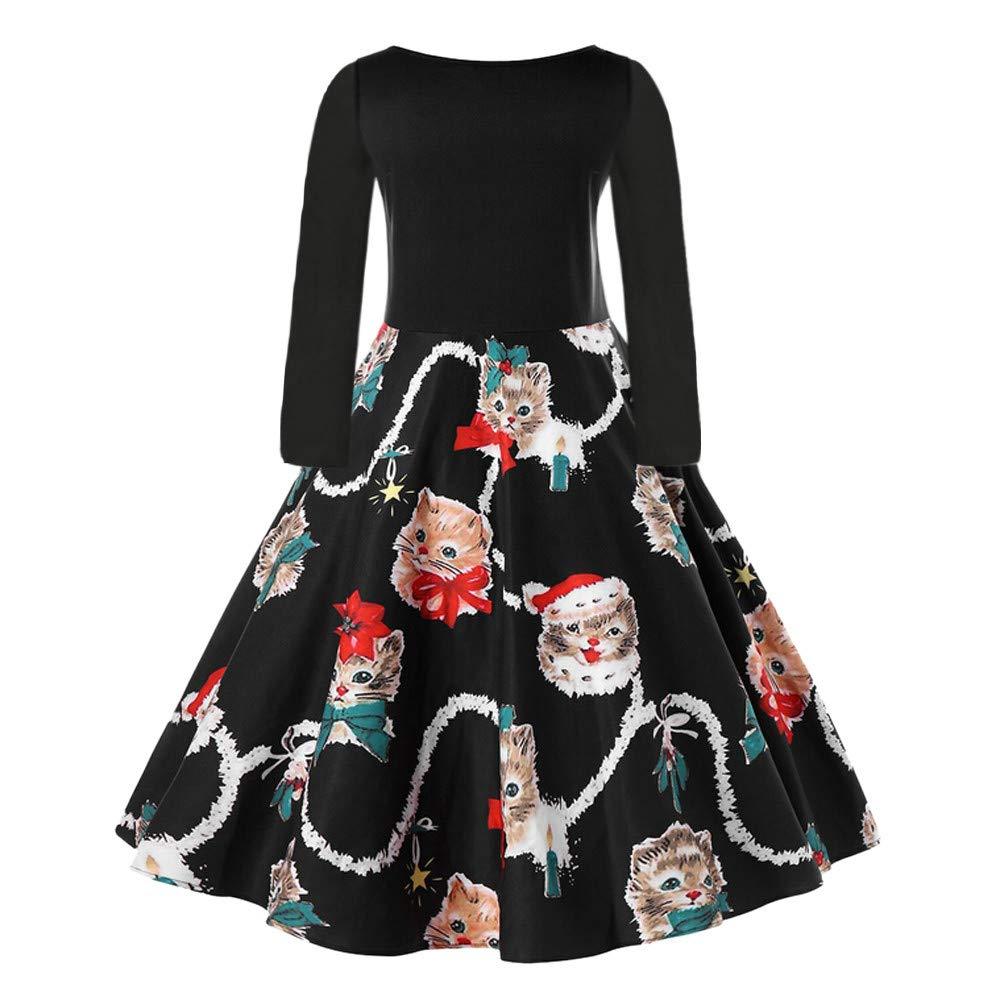 GIFC Fashion Women Plus Size Fashion Christmas Plus Size Kitten Pattern Swing Dress