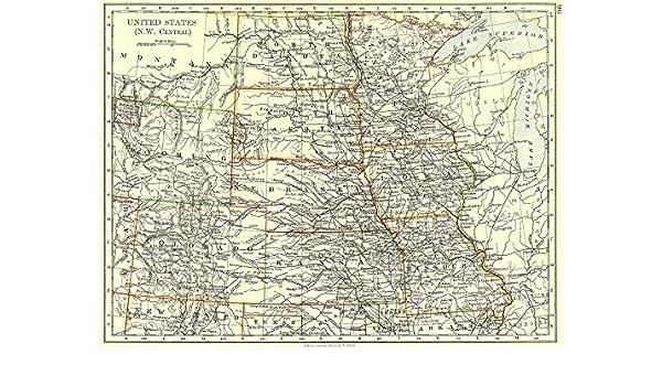 Nw Usa Map.Amazon Com Usa Nw Central Dakota Wyoming Colorado Kansas Iowa