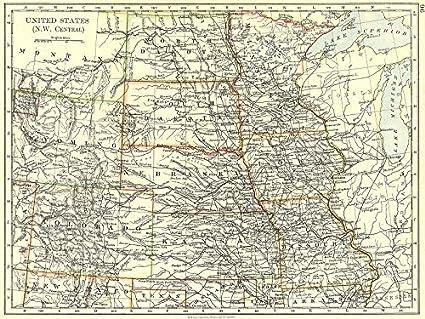 Amazon.com: USA. NW Central Dakota Wyoming Colorado Kansas ...
