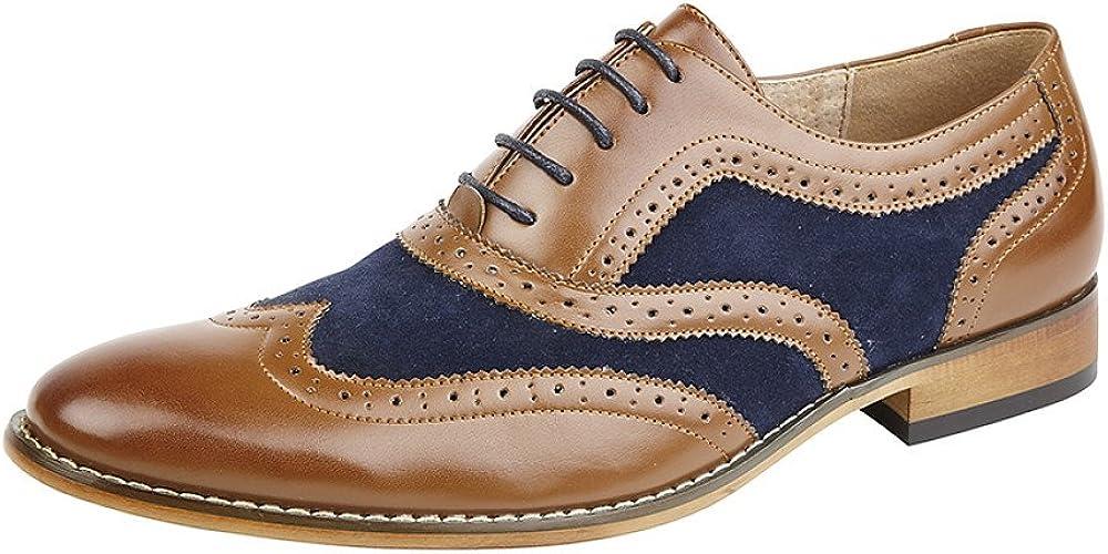 TALLA 47 EU. Goor - Zapatos de Cordones de Material Sintético para Hombre Marrón marrón/Azul Oscuro