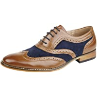 Goor Men's Tan/Navy, Leather Lined Lace Up Smart Brogues Shoes