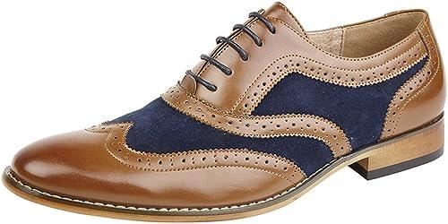 Goor Zapatos de cordones, color marrón y azul marino, con forro de cuero, para hombre