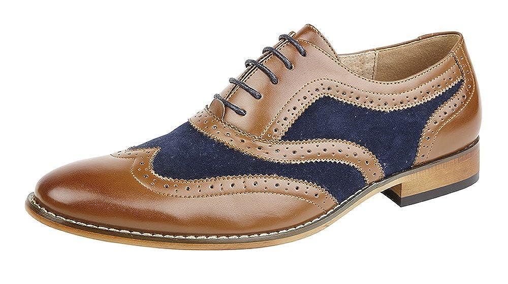 Goor - Zapatos de Cordones de Material Sintético para Hombre Marrón marrón/Azul Oscuro
