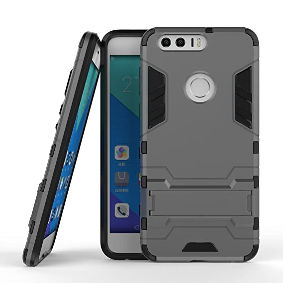 best website 48fed e6db0 Honor 8 Armor Case DWaybox 2 in 1 Hybrid Heavy Duty Hard Back Cover Case  for HUAWEI Honor 8 Stand Case with kickstand (Gray)