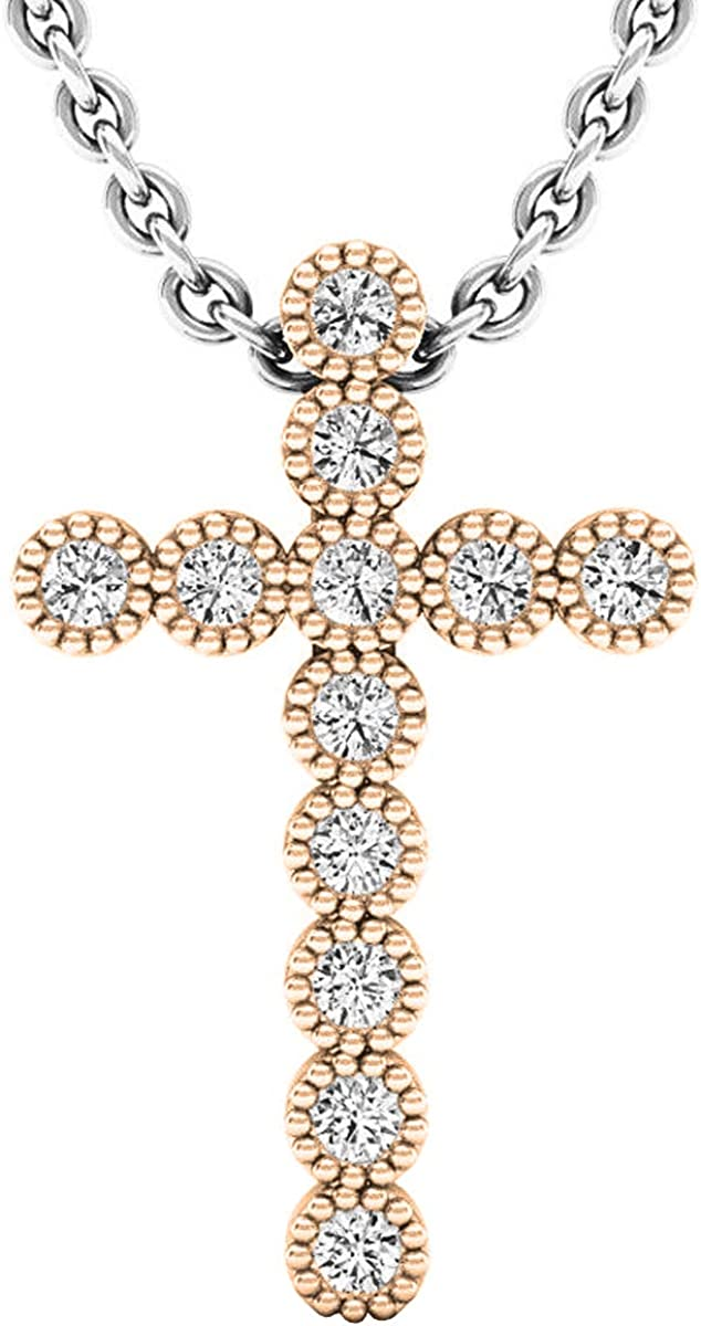 Dazzlingrock Collection 0.15 Carat 10K Gold Round White Diamond Mens Ladies Unisex Bezel Cross Pendant ctw