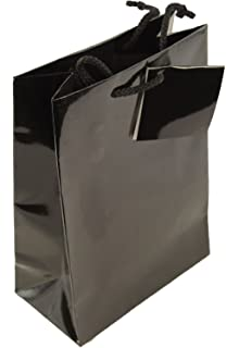 30 x Small Black Gift Bags 15x19+8cm Glossy Fancy Gift Bags with Rope Handles for Wedding Favours *TOP QUALITY* Party Paper Bags