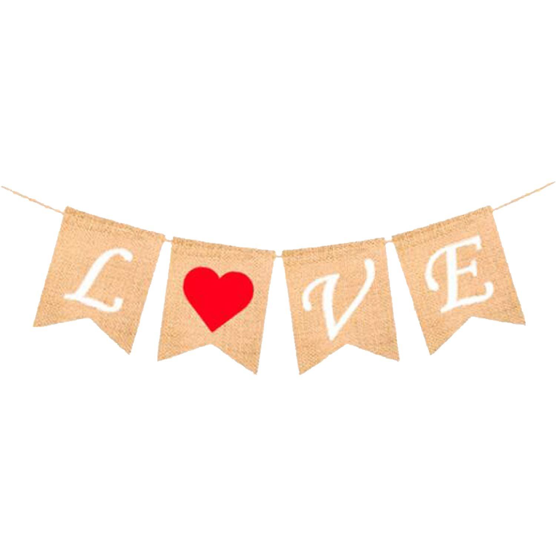 Valentines Day Decorations Wedding Valentines Decorations Anniversary Decor No DIY LOVE Burlap Heart Banner Valentines Day Banner Sign for Engagement Valentines Garland KatchOn Assembled Banner