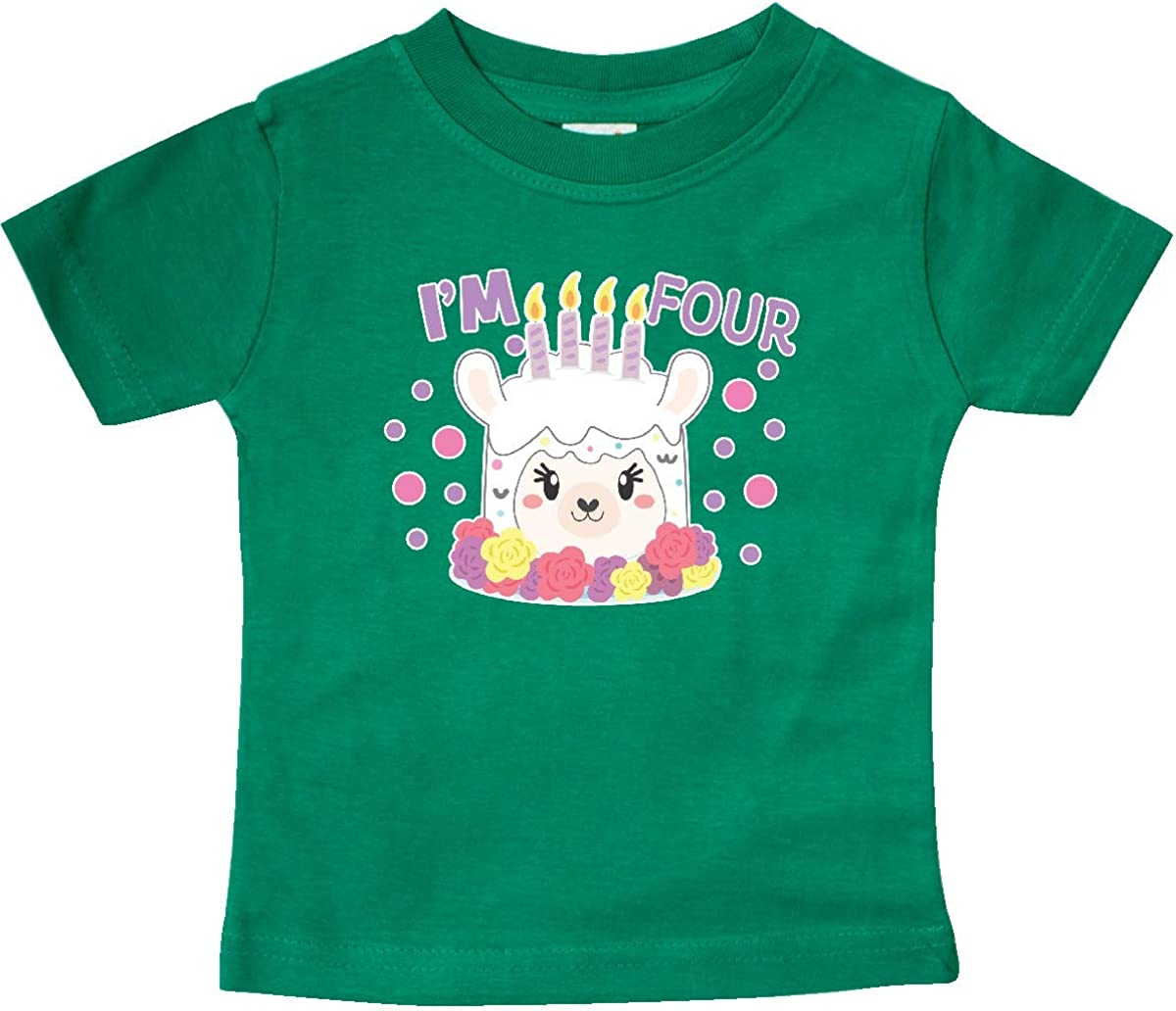 inktastic Im 4 with Flowers and Cute Llama Cake Toddler T-Shirt