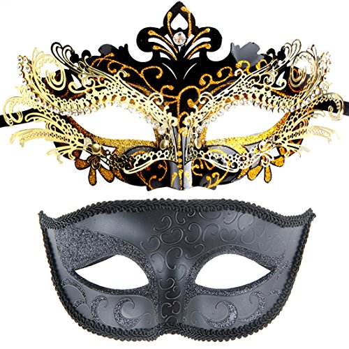 [One Pair Couples Gorgeous Venetian Masquerade Ball Masks Party Costume Accessory] (Couple Masquerade Masks)