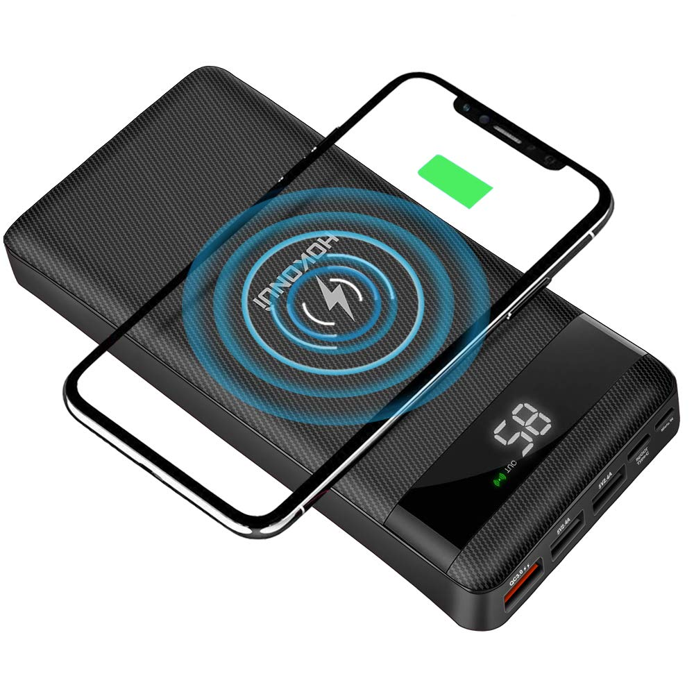 HOKONUI Wireless Portable Chargers, 10W Qi Fast Charge 20000 mAh Power Bank 5 Output USB Type-C LCD Display High Capacity External Battery Pack for Cell Phones, iPhone, Ipad, Samsung Galaxy and More by HOKONUI