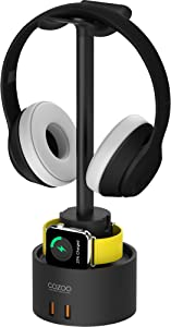 Headphone Stand with USB Charger COZOO Desktop Gaming Headset Holder Hanger with 5 USB Charging Station,Suitable for Gaming, DJ, Wireless Earphone Display (Black)