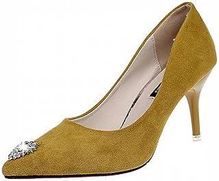 DHG Chaussures à Talons Fins Pointus d'automne Européens Et Américains avec des Chaussures, des Chaussures de Mariage Rouges à Talons Hauts Chaussures de Travail Noir,Jaune,37