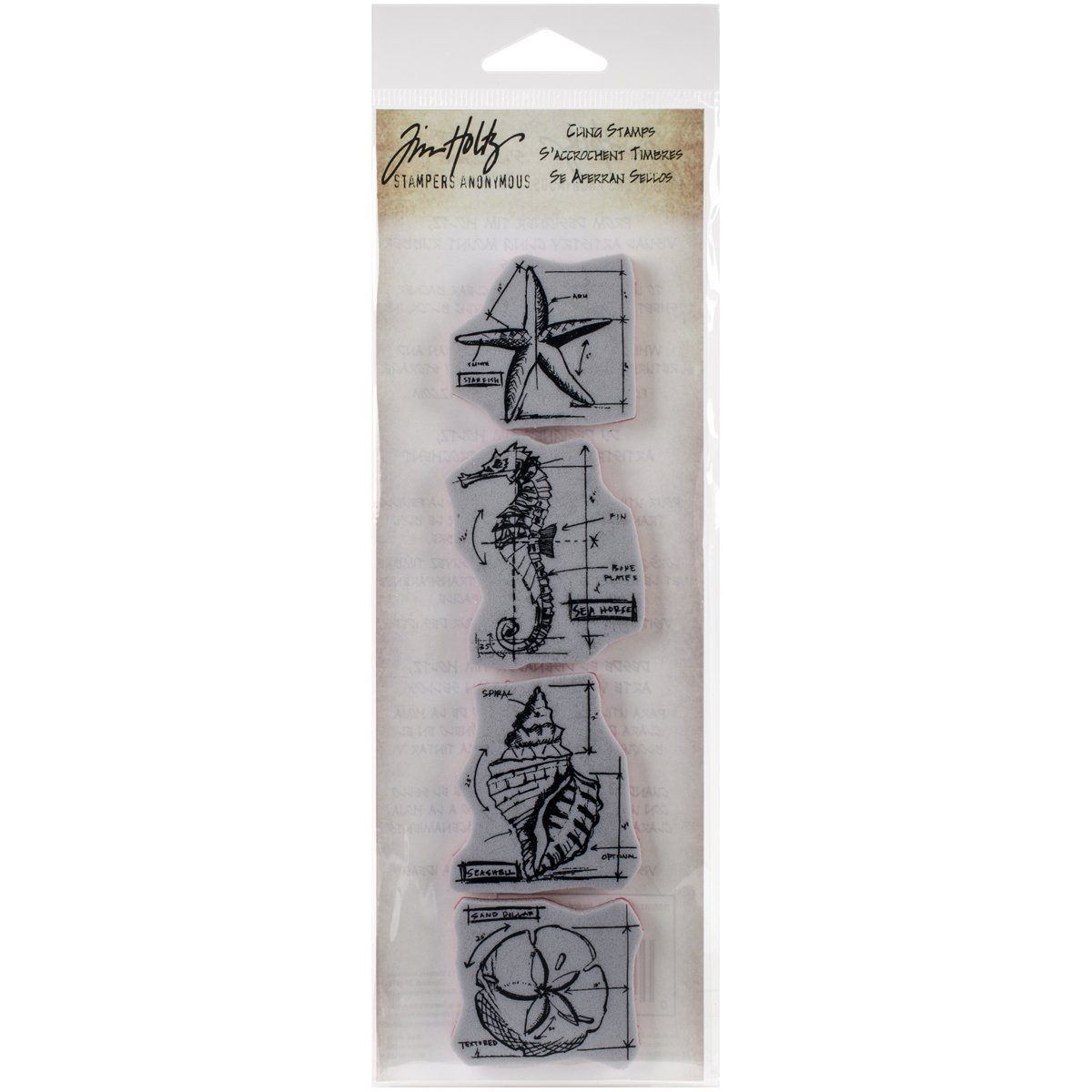 Stampers Anonymous Tim Holtz Mini Blueprints Strip Cling Rubber Stamps Nautical 3 by 10