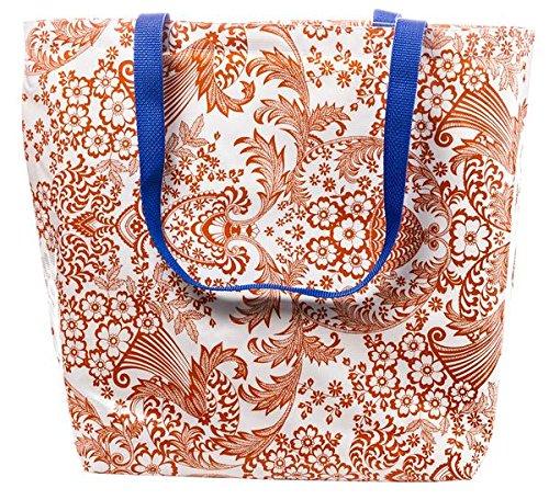 Freckled Sage Oilcloth Market Bag Toile Oange