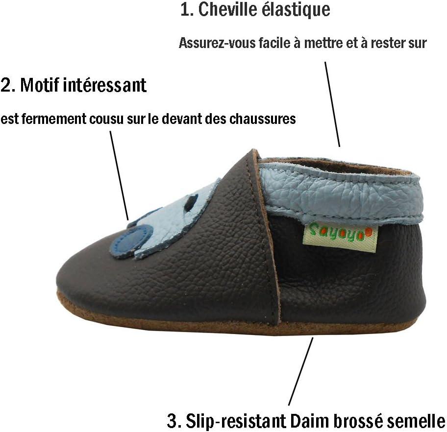 Jaune,0-6 Mois Sayoyo Chaussures de B/éb/é Enfant Chaussons en Cuir Souple Chaussures Semelle Douce avec Voiture