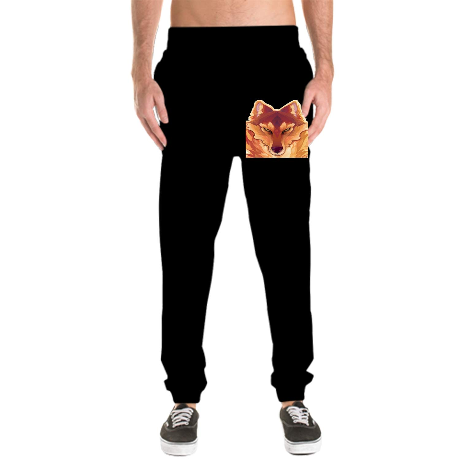 SUJQNGC Mens 100/% Cotton Super Soft Fiery Wolf Printing Pants