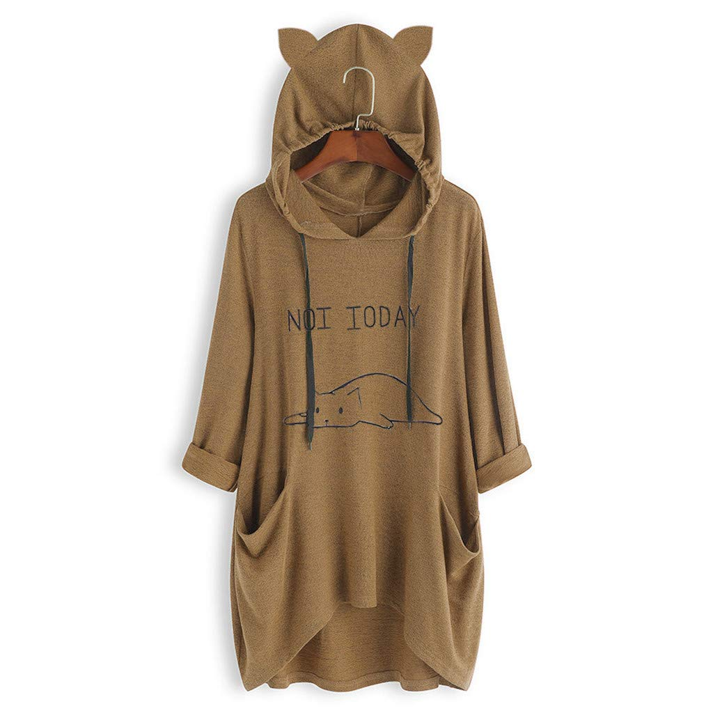 Toamen Womens Hoodies Sweatshirt Jumper Pullover Sale 2019 New Ladies Long Sleeve Print Cat Ear Hooded Tunic Top Blouses