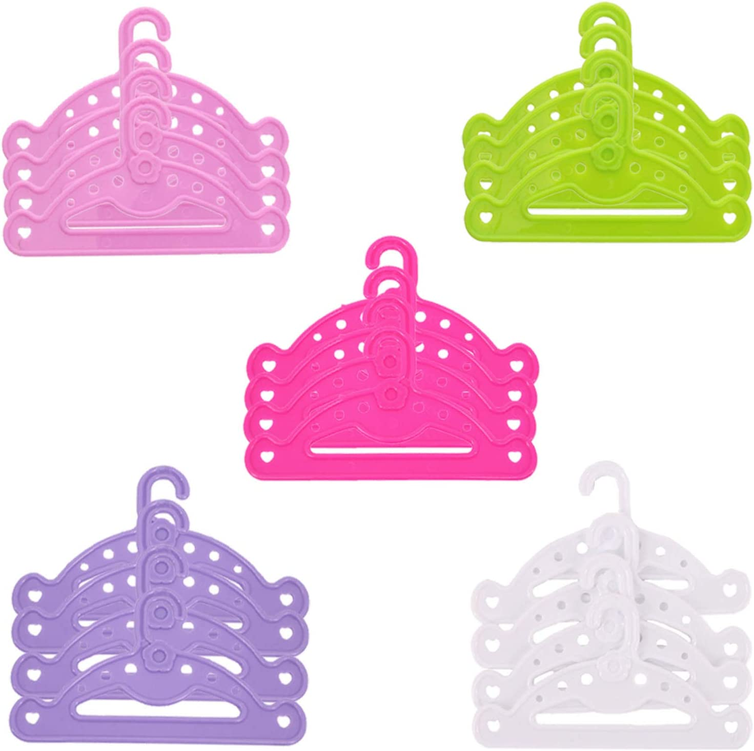ZWSISU 20PCS Doll Clothes Hangers Set Dollhouse Furniture Accessories for 18 Inch American Girl Doll House Wardrobe Accessories 5colors