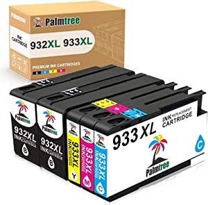Palmtree Compatible Ink Cartridge Replacement for HP 932 933 932XL 933XL for HP Officejet 7110 6600 6100 6700 Printers (2 Black, 1 Cyan, 1 Yellow, 1 Magenta) 5 Packs