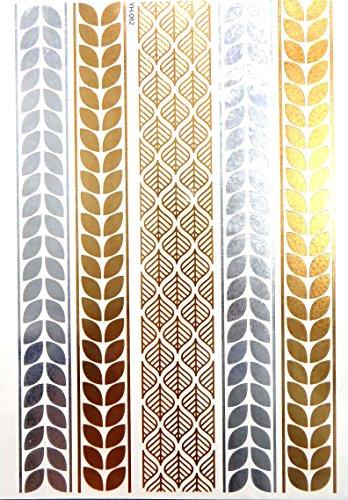 Armlet Choker bracelet chain flash metallic temporary tattoos gold -