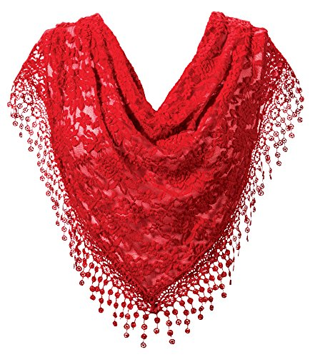 - Floral Lace Lightweight Fringed Scarf Wrap ()