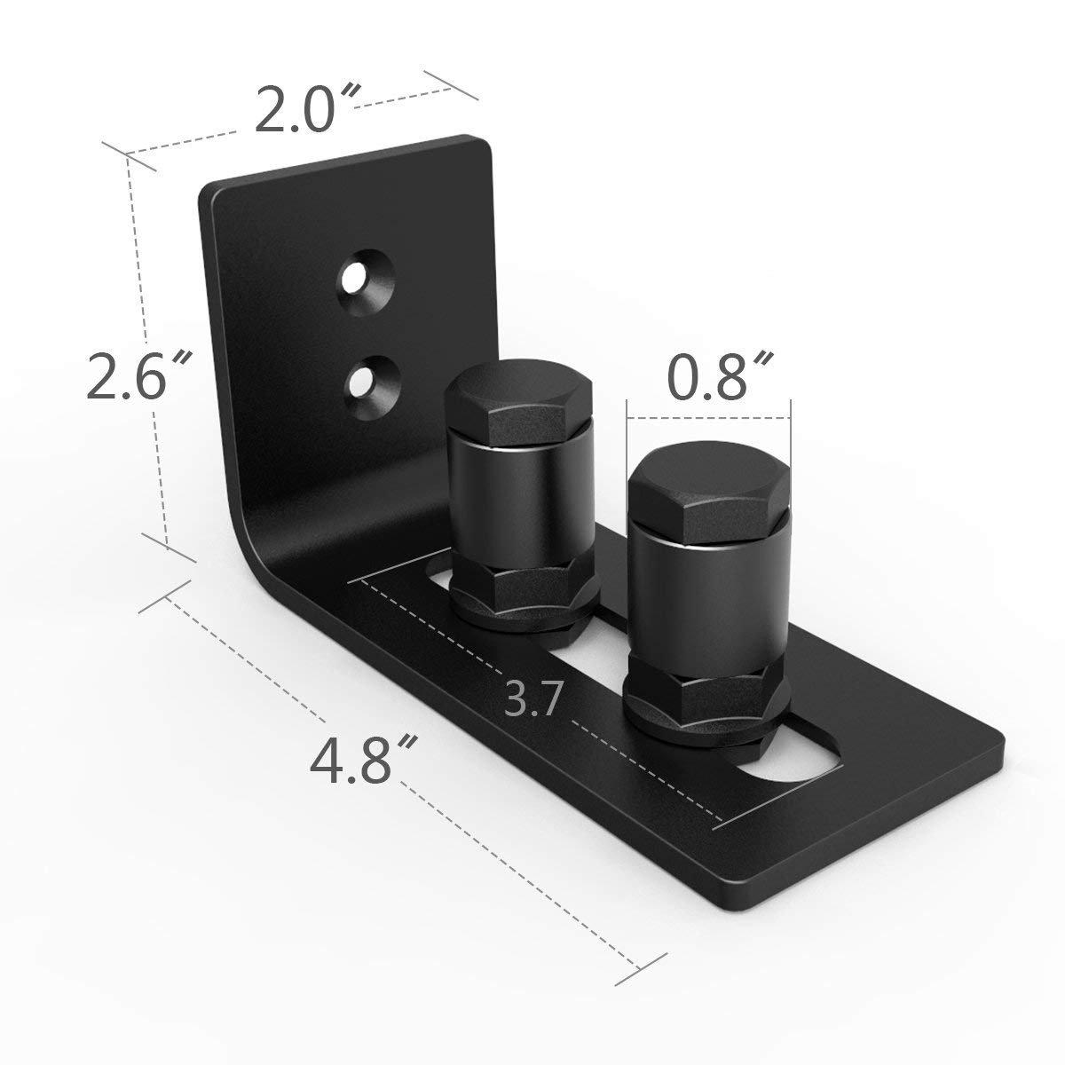 Barn Door Floor Guide Stay Roller - New Designed Stainless Sliding Door Hardware Adjustable Wall Mount Roller Guides for Pocket Door, Cabinets, Sliding Wood Doors (Black) by HOMEWINS (Image #2)