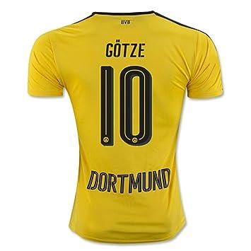 2016 2017 Borussia Dortmund camiseta de 10 Mario Gotze casa fútbol Jersey de flores en amarillo