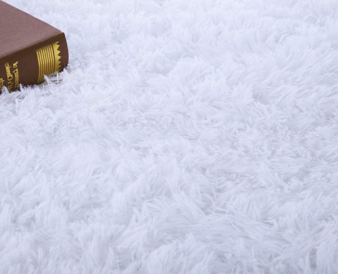 Grey, 5.3 x 7.5 FlashLTD Fluffy Ultra Soft Shaggy Area Rugs for Bedroom Fluffy Carpet for Kids Room Bedside Nursery Mats