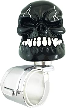 Black Abfer Car Turning Knob Personal Skull Spinner Power Turning Aid Helper Suicide Knob Fit Most Universal Vehicles