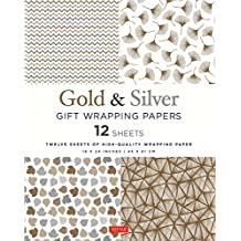 Gold & Silver Gift Wrapping Papers: 12 Sheets of High-Quality 18 x 24 inch Wrapping Paper