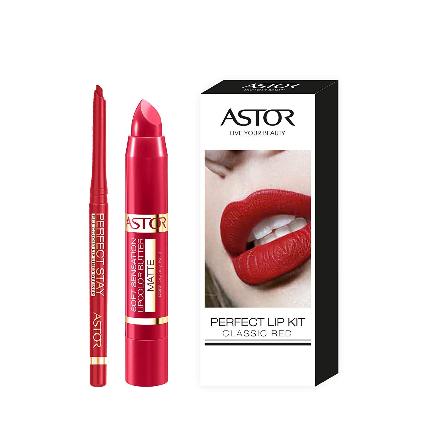 Astor Lip Kit Nude mit Soft Sensation Lip Color Butter Matte und Perfect Stay Automatic Lip Liner, 1er Pack (1 x 5 g) 26150058000