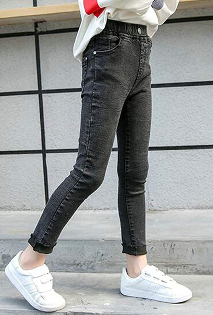 Cromoncent Big Girls Legging Stretchy Slim Denim Jeans Warm Pants