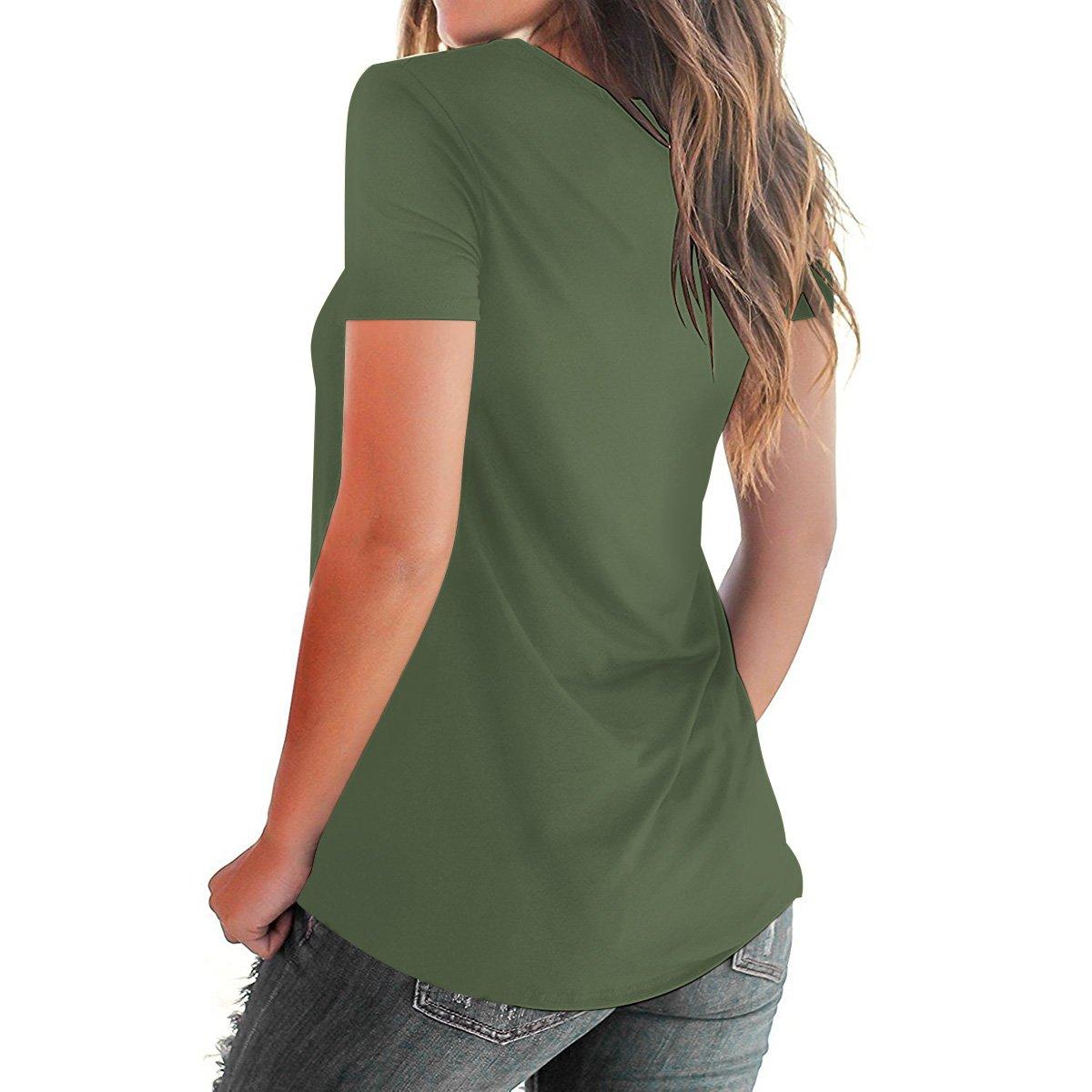 Eanklosco Womens Summer Short Sleeve Cold Shoulder Tops V Neck Basic T Shirts (Green-Cross, S)