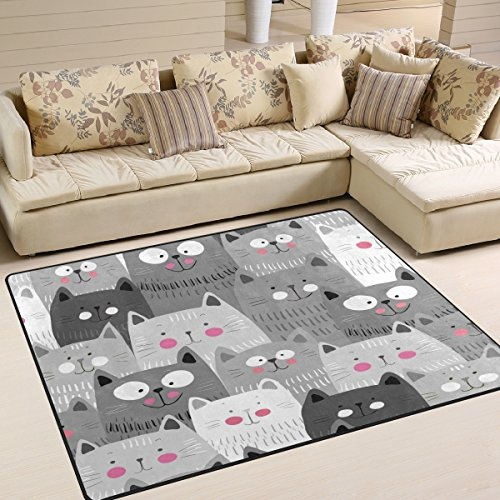 ALAZA Gray Hipster Cat Kitten Area Rug for Living Room Bedroom 5'3'x4'