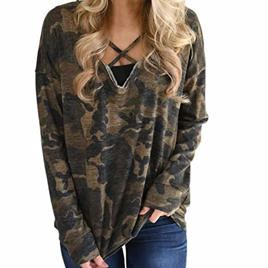 eb818ea6483 Shirts Women Camouflage Loose Long Sleeve Round Neck Pullover Shirt Blouse  Top Shirt at Amazon Women's Clothing store