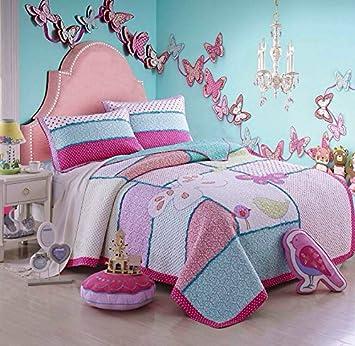 beddingleer costura patchwork colchas edredones algodn para niasdiseo pjaros y mariposas conjunto de