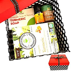 NEW Turmeric Lovers Healthy Gift Box Bundle from Sublime Naturals, with Natural Turmeric Soap, Organic Turmeric Tea, Turmeric Essential Oil & Simply Organic Turmeric Spice.