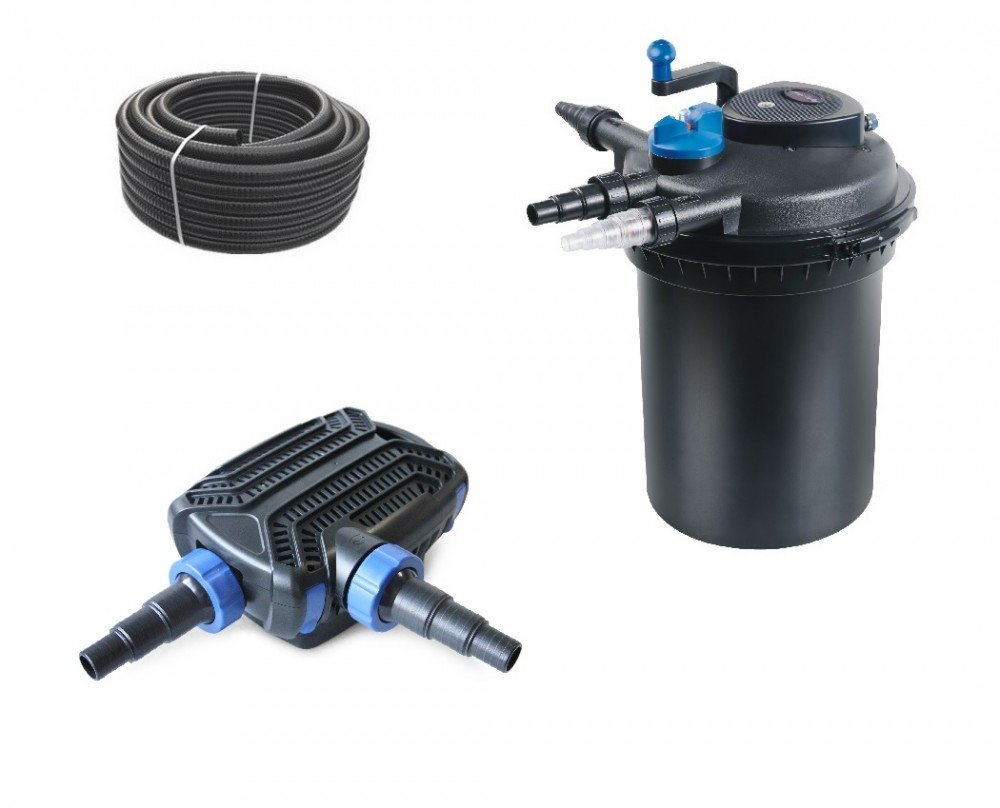 Bio Druckteichfilter Set 12.000l CPF 10000 SELBSTREINIGEND +Eco Teichpumpe O-Serie 6500 +UVC Klärer +10 Meter Teichschlauch