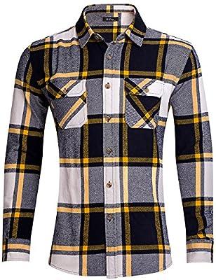 XI PENG Men's Casual Western Cotton Brushed Fleece Lined Plaid Flannel Dress Shirt Jacket