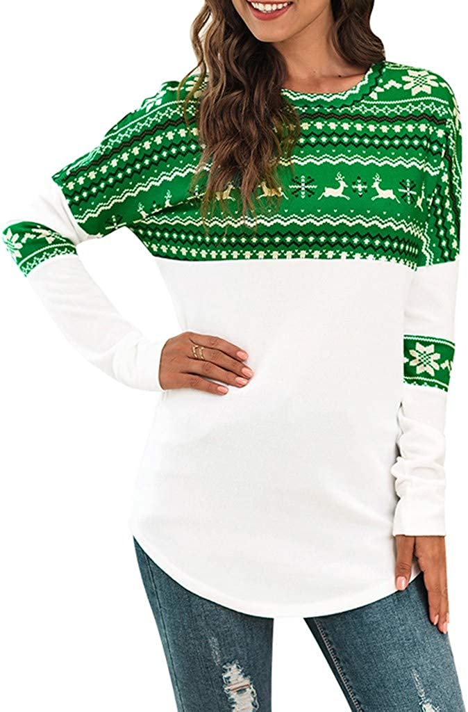 Women's Christmas Elk Printing Tunic Long Sleeve T-Shirt Loose Tops Round Neck Pullover