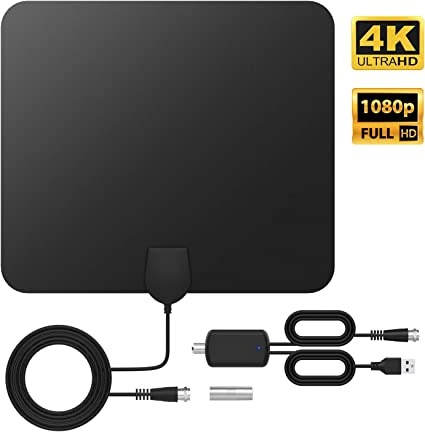 TICTID HDTV Antenna Up to 120 Miles Range 4K 1080P TV Antenna with Amplifier Signal Booster and 4.4M Coaxial Cable TV Antenna Indoor TV Antenna Digital