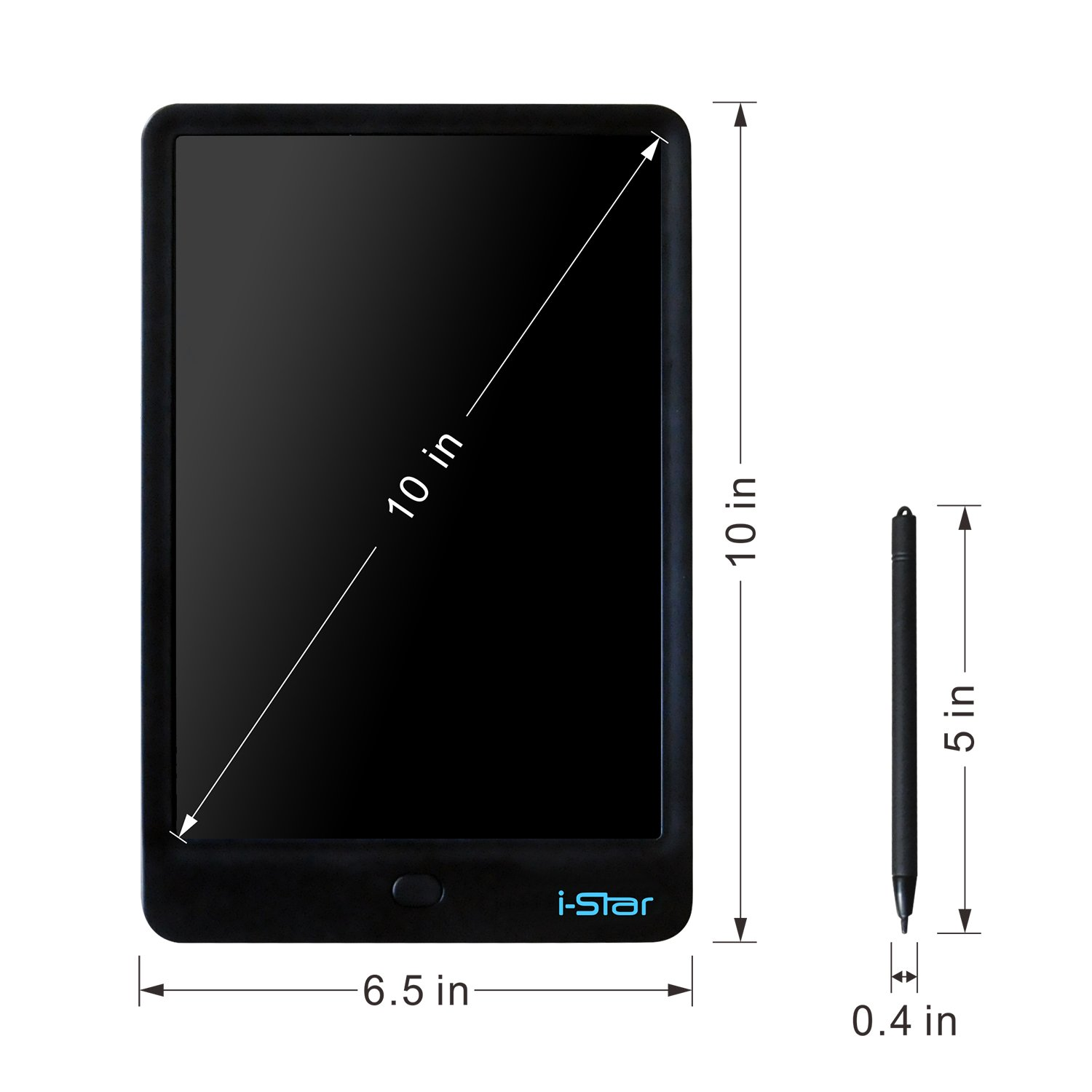 LCD Writing Tablet, i-Star 10 inches Lock Electronic Drawing Painting Board, Paper-Free, Portable Doodle Handwriting Notepad Gift for Kids Adults Designer Office House, Black by I-STAR (Image #2)