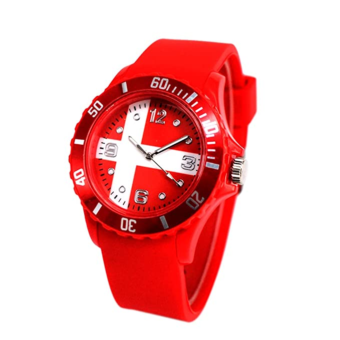 Reloj con la bandera de Dinamarca con pulsera de Silicona