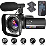 Video Camera Camcorder with Microphone YouTube Camera Recorder 2.7K Ultra HD 20FPS 30.0MP 18X Digital Zoom 3.0