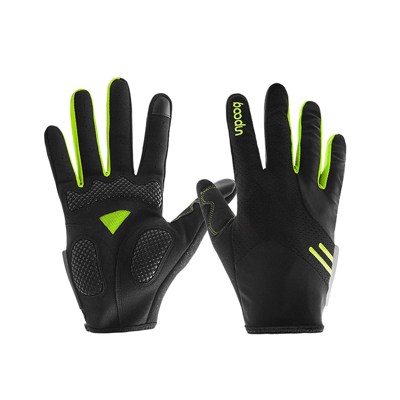 AmDxD Herren Atmungsaktiv Lang Finger Vollfingerhandschuhe Fahrradhandschuhe Reithandschuhe Grün Handschuhe Größe Mittel